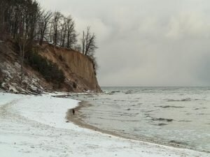 Baltic sea bay Gdynia cliff in Orlowo Poland. Beautiful winter landscape